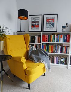 - Armchair - Reading spot / yellow armchair STRANDMON / books / home library / cycling poster. Reading spot / yellow armchair STRANDMON / books / home library / cycling poster 2019 Reading spot / yellow armchair STRANDMON / books / home. Living Room Chairs, Home Living Room, Apartment Living, Living Room Decor, Bedroom Decor, Dining Chair, Strandmon Ikea, Home Design, Home Interior Design