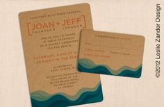 CHIPBOARD / KRAFT paper BEACH modern casual wedding invitation. maybe something like this with a more distinct wave pattern.