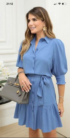 Light Blue Dresses, Blue Dress Casual, Classy Dress, Casual Dresses, Fashion Dresses, Summer Dresses, Lace Dress Styles, Lovely Dresses, Jeans Dress