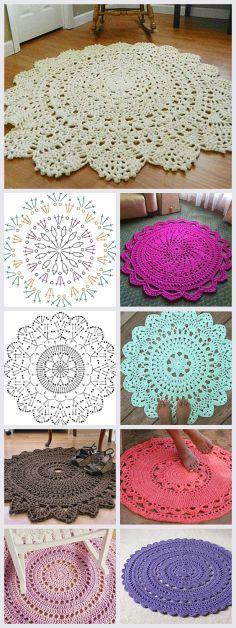Crochet Rug Patterns T Shirt Yarn Doilies 58 Ideas Crochet Doily Rug, Crochet Carpet, Crochet Rug Patterns, Crochet Home, Crochet Flower, Free Crochet, Knit Crochet, Tapete Doily, Diy Carpet