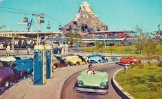 Autopia, 1959;  You had to be a certain height to go on this ride ( or be stuck on the junior autopia, which had a track...every year we would go back, hoping we would meet the requirement.   And FINALLY it happened.