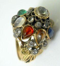 Vintage Harem Princess Dome Ring Size 5.5 Colorful Tear Drop Gems Gold Filagree  #Unbranded