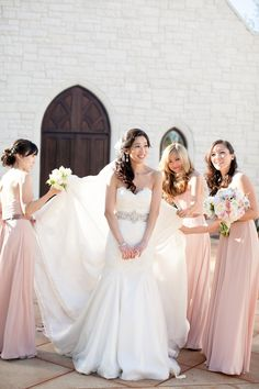I love almost everything about these dresses! The wedding dress is pretty much perfect, except that I don't like the mermaid-ish fit. The bridesmaid dresses are pretty much perfect though.