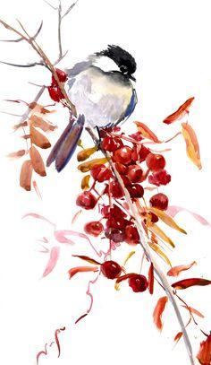 watercolor art Chickadee one of a kind watercolor painting bird art nursery art children room chickadee illustration wall art songbird Landscape Illustration, Illustration Art, Art Illustrations, Watercolor Bird, Watercolor Paintings, Paintings Of Birds, Artwork Paintings, Bird Artwork, Bird Drawings