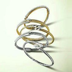 David Yurman diamond gold and silver cable link bracelets