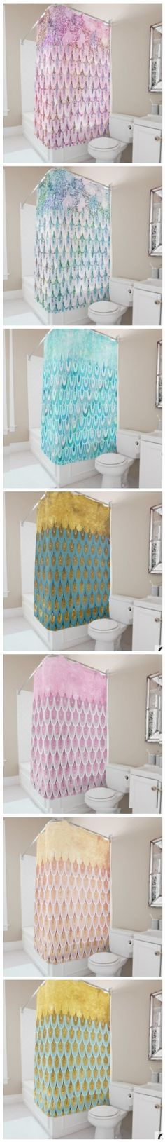 Shiny Glitter Mermaid Fish Scales Shower Curtains by #UtART #Zazzle Beautiful shining feminine and elegant mermaid glitter scales in different shades of pink or blue and metal gold foil. This design is the perfect gift for her for the stylish lady, perfect for her birthday, sweet sixteen favor, bridal shower, perfect summer gift for her, the girly girly and modern fashionista or any occasion! Please note, none of the elements are glitter, bling or shiny, this is only a printed image
