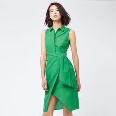 Warehouse, TIE SIDE SHIRT DRESS Bright Green 1