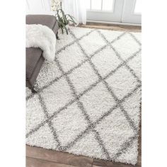 nuLOOM Shanna Shag White 8 ft. x 10 ft. Area Rug-OZEZ04A-8010 - The Home Depot