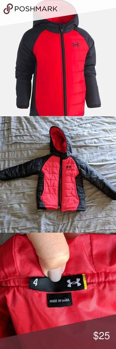 Little Boys Under Armour Werewolf Puffer Jacket Great condition. Bought from UA in November and son grew out of it before winter was over. Threads came loose on UA logo on hood but does not affect the jacket and hardly noticable. See images.  *Not included on the kids $6/20 promo for my closet.* Under Armour Jackets & Coats