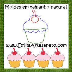 Patchwork moldes cupcake com cereja em patch aplique