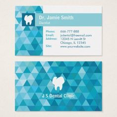 Shop Tooth Logo Blue Polygon Dentist Business Cards created by dadphotography.