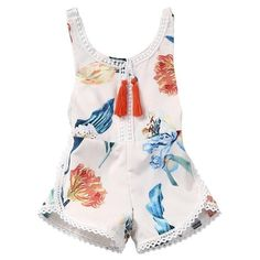 Aloha! Not only do we love the adorable print, the scalloped trim and tassel details on this romper, but we also adore the comfortable fit! Perfection! Pair it