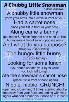 Celebration of Snowmen A chubby little snowman poem! Change the bunny to deer & you could use Stranger In The Woods book.A chubby little snowman poem! Change the bunny to deer & you could use Stranger In The Woods book. Christmas Poems, Christmas Program, Christmas Concert, Preschool Christmas, Winter Songs For Preschool, Winter Activities, Winter Songs For Kids, Christmas Activites, Holiday Program