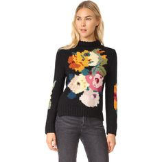 SMYTHE Alpaca Floral Intarsia Sweater ($495) ❤ liked on Polyvore featuring tops and sweaters