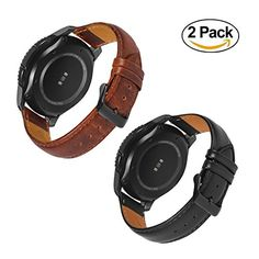 749e3713c2f Gear S3 Bands Frontier with Quick Release Pins 22mm Genuine Leather  Replacement Smart Watch Band for