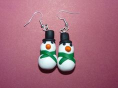 Snowman Polymer Clay Christmas Earrings by AllCosiedUp on Etsy, £3.00