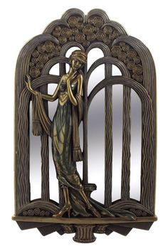 Art Deco Lady With Fountain Mirror- Enlarged- would make a stunning garden gate!