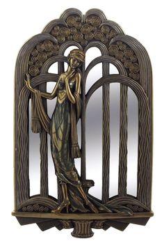 Art Deco Lady With Fountain Mirror - Art Nouveau & Art Deco Sculpture Figurine Art Deco Period, Art Deco Era, Design Art Nouveau, Modernisme, Style Deco, Inspiration Art, Art Deco Furniture, Art Deco Fashion, Ladies Fashion