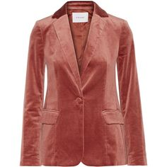 FRAME Classic cotton-blend velvet blazer (4327940 PYG) ❤ liked on Polyvore featuring outerwear, jackets, blazers, red blazer jacket, tailored jacket, tailored blazer, red velvet blazer and orange blazer jacket