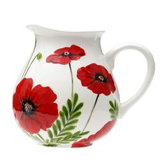 """Duncan Ceramic Project.  Pottery Painted Jug.  """"Playful Poppies"""" designed and created by Suzie Shinseki. Rich, red poppies dance and play on the sides of the Duncan® Oh Four® pitcher with the help of Duncan® Concepts® Underglazes and your creative touches.  Country Love Crafts UK DUNCAN CERAMICS DISTRIBUTOR"""