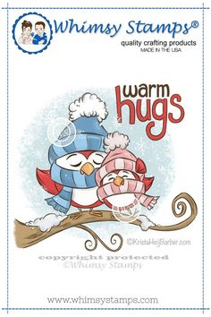 """Whimsy Stamps """"Warm Hugs Birds"""" illustrated by Krista Heij-Barber. Deeply etched rubber mounted on cling cushion foam, untrimmed. Approximate size in inches: Christmas Drawing, Christmas Paintings, Christmas Art, Christmas Ornament, Christmas Decorations, Ornaments, Winter Fairy, Whimsy Stamps, Warm Hug"""