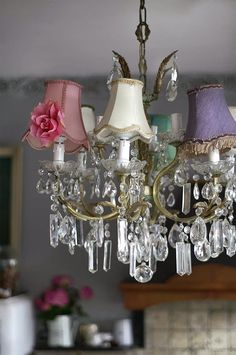 Romantic Shabby Chic light shades on a chandelier