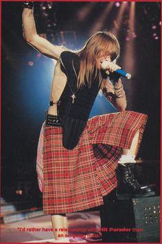 Axl Rose of Guns N' Roses, early '90s - love the kilts