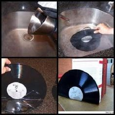 DIY vinyl record bookends or use instead & use for cd bookends! DIY vinyl record bookends or use instead & use for cd bookends! Vinyl Record Crafts, Record Art, Vinyl Crafts, Vinyl Records Decor, Vynil Records, Diy Vinyl, Vinyl Art, Diy Projects To Try, Craft Projects