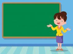 Profesor y tablero Premium Vector Flower Background Wallpaper, Kids Background, Flower Backgrounds, Classroom Quotes, Classroom Decor, Good Habits For Kids, Question Mark Icon, Teacher Cartoon, Math Design