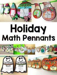 Holiday math pennant activities for Halloween fall Thanksgiving Pi Day Christmas Valentine's Day Back to School Earth Day Easter winter Math Art, Fun Math, Math Activities, Math Resources, Math Strategies, School Resources, Math Games, Thanksgiving Math, Christmas Math