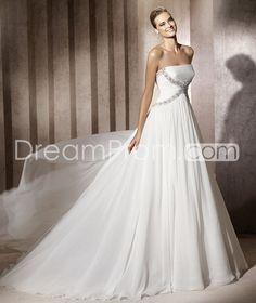 Brilliant Strapless Floor-Length Chiffon Wedding Dresses 2014 New Arrival