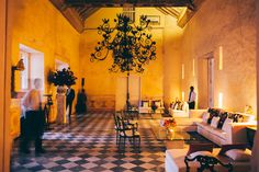 The magnificent living room of Casa Pombo, Cartagena. (From A Wedding With '50s-Era Flair in Cartagena)