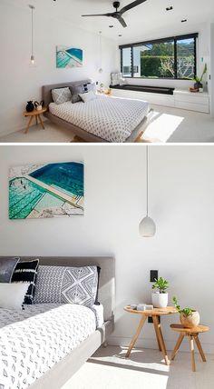 This modern bedroom has a built-in window seat with storage underneath. Luxury Bedroom Furniture, Home Decor Bedroom, Modern Bedroom, Design Bedroom, Luxury Bedding, Modern Architecture Design, Modern House Design, Modern Interior Design, Luxurious Bedrooms