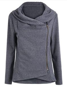 Stylish Round Neck Long Sleeve Solid Color Zippered Asymmetrical Women's Sweatshirt
