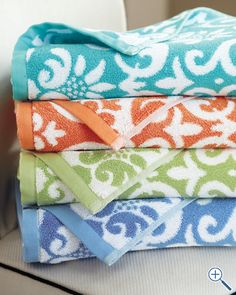 Love this print in ocean & lime! Would look so cute with a pink monogram! Garnet Hill Damask Towels