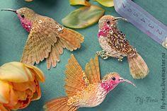 broche miniatura hecho a mano - colibríes del pájaro.  Oro .. hecho a mano.