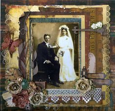 Priceless Treasures...lovely wedding page in rich colors accentuated with gold. Gorgeous photo framing with lace, flowers and butterflies. Love the vintage accents and ephemera. Well done!