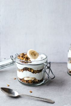 Healthy Banoffee Parfaits (with date caramel and stove-top granola)