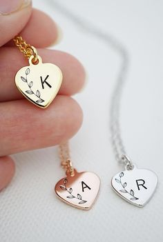 Personalized hand stamped initial heart necklace Woodland weddings fall weddings rustic weddings rose gold bridesmaid gifts