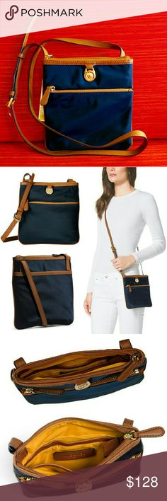 89✂Michael Kors Navy Small Crossbody Bag ⏩Crafted from lightweight, high-quality nylon for enduring style, this crossbody is both practical & stunning! ⏩Perfect choice for travel & busy lifestyle, it's water & stain resistant, easy to care & clean! ⏩Genuine leather trim, strap & zips ⏩Top zip closure, adjustable strap ⏩Polished MK logo charm ⏩Exterior➖2 outer pockets (front & back) for easy access, additional storage & multi-tasking ⏩Interior➖3 open compts, fully lined in beautiful mustard…