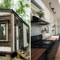 The Mohican tiny house from Modern Tiny Living. A beautiful 230 sq ft home with shiplap walls, a kitchen outfitted with high-end appliances, and well insulated with double-paned windows and spray foam insulation!