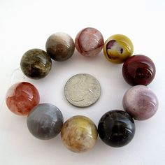 Multi gemstone round beads 18mm 10 pieces loose beads Bracelet making by Susiesgem on Etsy