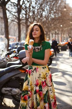 So much fun - floral print skirt and green top - Ice cream