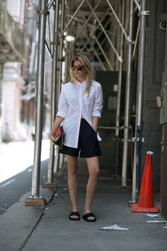 Button down + shorts   Camille Over The Rainbow #style #fashion
