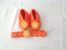 Crochet Baby Booties  Shoes and Headband by nesel on Etsy, $15.00