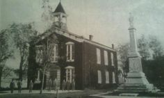 The old Warren County Courthouse, on it's present location, was but a year shy of it's 100th anniversary when it was dismantled in1935 to make way for the present building. To the right is the soldier's monument that is still standing.