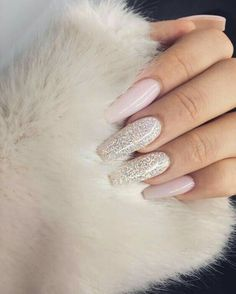 In search for some nail designs and ideas for the nails? Here is our list of 28 must-try coffin acrylic nails for stylish women. Gorgeous Nails, Love Nails, Prom Nails, Wedding Nails, Glitter Wedding, Bling Nails, Wedding White, White Glitter, White And Silver Nails