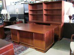 Mission Style Desk W/ Matching Credenza U0026 Bookcase Hutch   Red Oak Finish
