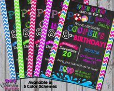 Printable POOL PARTY INVITATION  Pool Party by ShinySparklyParties