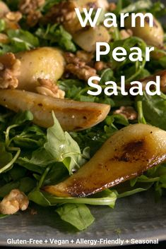 Warm Pear Salad is sweet, tangy, crunchy, filling and delicious! Winter Salad Recipes, Fruit Recipes, Vegan Recipes, Cooking Recipes, Warm Vegetable Salad Recipes, Jelly Recipes, Apple Recipes, Pear Recipes Dinner, Pear Salad